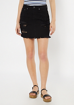 Black Distressed Frayed Jean Skirt