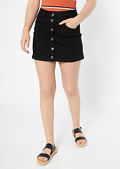 Black Button Down Jean Skirt