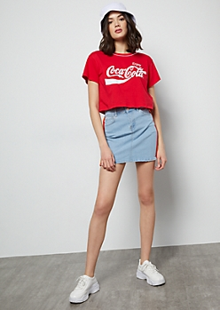 Light Wash Side Striped Mini Jean Skirt