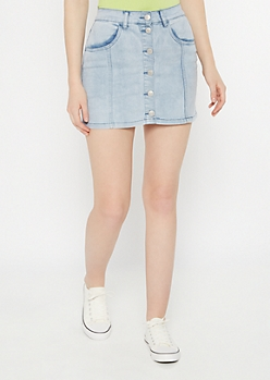 Light Wash Stitch Button Down Jean Skirt