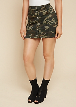 Camo Print Button Down Denim Mini Skirt