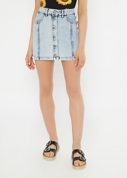 Acid Wash High Waisted Button Front Mini Skirt