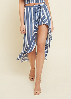 Navy Striped Pattern Ruffled Wrap Skirt