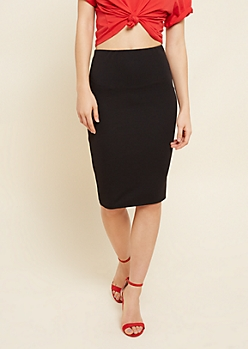 Black Ribbed Knit Pencil Skirt