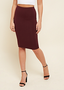 Burgundy Ribbed Knit Pencil Skirt