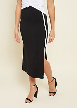 Black Varsity Stripe Pattern Bodycon Midi Skirt