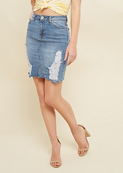 Medium Wash Distressed Jean Pencil Skirt
