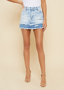 Two Tone Frayed Edge Jean Mini Skirt