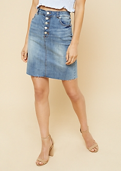 Medium Wash Raw Hem Button Fly Jean Skirt