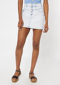 Light Acid Wash Button Down Jean Skirt