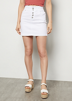 White Button Down Paperbag Waist Jean Skirt
