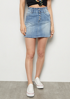 Medium Wash Button Down Paperbag Waist Jean Skirt