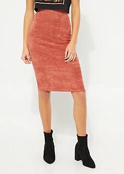Burnt Orange Faux Suede Bodycon Midi Skirt