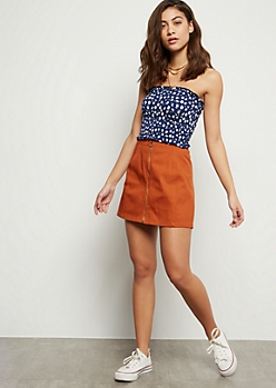Burnt Orange Zip Front Mini Skirt