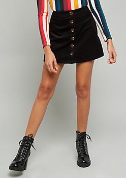Black Button Down Front Corduroy Mini Skirt