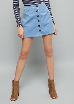 Blue Button Down Front Corduroy Mini Skirt