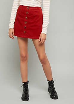 Red Button Down Front Corduroy Mini Skirt