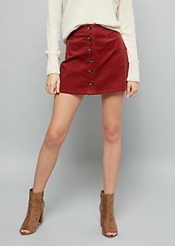 Burgundy Button Down Front Corduroy Mini Skirt