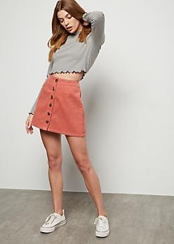 Pink Button Down Front Corduroy Mini Skirt