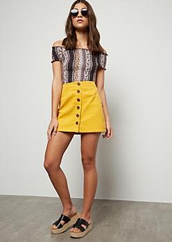 Yellow Button Down Front Corduroy Mini Skirt