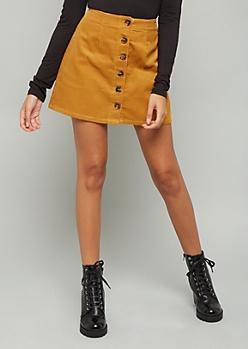 Mustard Button Down Front Corduroy Mini Skirt