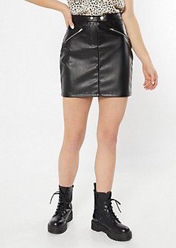 Black Faux Leather Zip Skirt