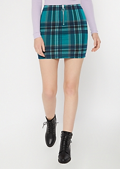Green Plaid Print O Ring Zip Skirt