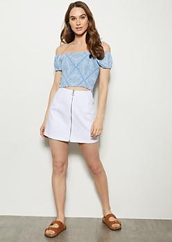 White Zip Front Mini Skirt