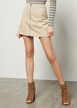 Sand Zip Front Corduroy Mini Skirt