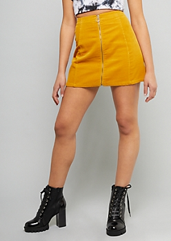Mustard Front Zip Corduroy Mini Skirt