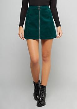 Green Front Zip Corduroy Mini Skirt