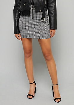 Gray Plaid Print Ring Zipper Mini Skirt