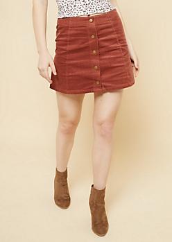 Dark Pink Snap Front Corduroy Mini Skirt
