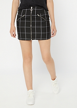 Black Plaid Print Zip Front Mini Skirt