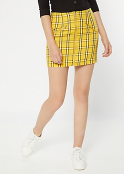 Yellow Plaid Print Zip Front Mini Skirt