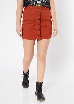 Burnt Orange Twill Button Down Mini Skirt