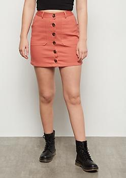 Pink Twill Button Down Mini Skirt