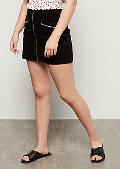 Black Corduroy Zip Front Mini Skirt