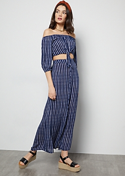 Navy Striped Open Front Maxi Skirt