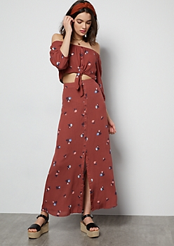 Dark Mauve Floral Print Open Front Maxi Skirt