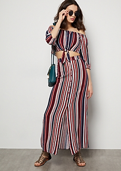 Burgundy Striped Open Front Maxi Skirt
