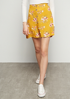 Mustard Floral Print Button Down High Low Skater Skirt