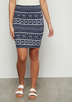 Navy Border Print Super Soft Smocked Mini Skirt