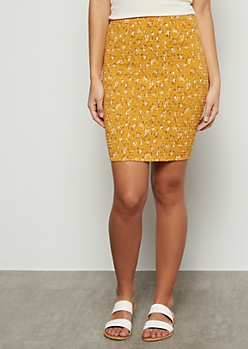 Mustard Floral Print Super Soft Smocked Mini Skirt
