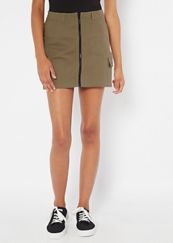 Olive Cargo Pocket Zippered Mini Skirt