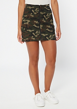 Camo Print Cargo Pocket Zippered Mini Skirt