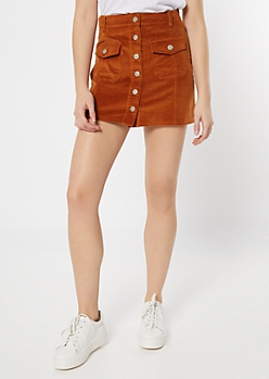 Cognac Corduroy Button Front Pocket Skirt
