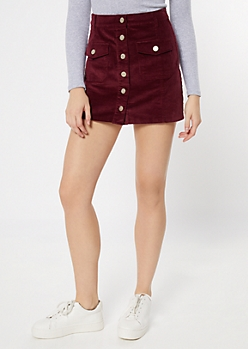 Burgundy Corduroy Button Front Pocket Skirt