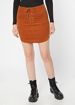 Cognac Corduroy Lace Up Mini Skirt