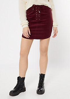 Burgundy Corduroy Lace Up Mini Skirt